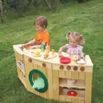Curved Outdoor Wooden Role Play Kitchen Multibuy